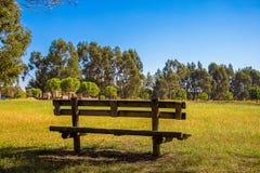 Träbänk i landet, under en blå himmel royaltyfri foto