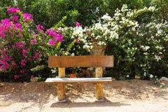 Träbänk i natur Fotografering för Bildbyråer
