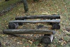 Träbänken av loggar in parkera bland sidorna arkivbilder