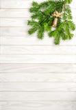 Träbakgrund för julgranfilialer Royaltyfri Fotografi