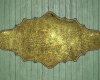 Träbakgrund med den guld- plattan Beståndsdel för design Mall för design kopiera utrymme för annonsbroschyr eller meddelandeinvit Royaltyfri Fotografi