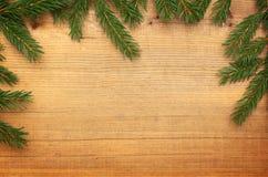 Träbakgrund med julgranen Royaltyfria Bilder
