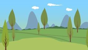 Träbakgrundsmaterial, grässlättbakgrundsmaterial, blå himmel, vita moln royaltyfri illustrationer