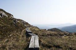 Träbana på berglutningen arkivbilder