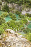 Träbanan och sjöar på Plitvicka sjöar parkerar royaltyfria bilder