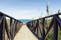 Träbanaouverdyn till stranden Arkivfoto