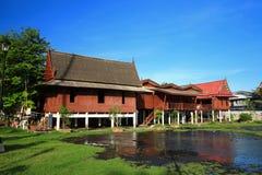 träbangkok historiskt hus Royaltyfri Fotografi