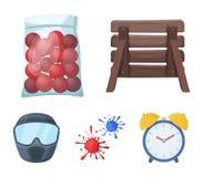 Träbarrikad, skyddande maskering och annan tillbehör Enkel symbol för Paintball i materiel för symbol för tecknad filmstilvektor Royaltyfri Fotografi
