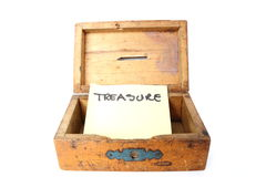 träbegreppsmoneybox Arkivbilder