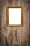 Träbildram på gammal wood bakgrund Arkivfoton