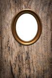 Träbildram på gammal wood bakgrund Fotografering för Bildbyråer