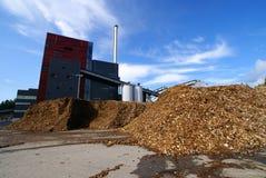 träbio lagring för bränsleväxtström Royaltyfria Foton