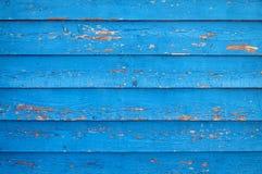 träblå gammal målad vägg Royaltyfria Bilder
