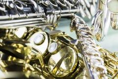 Träblåsinstrument och mässing Royaltyfri Fotografi
