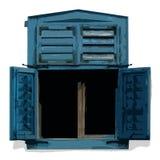 träblått fönster Arkivbild