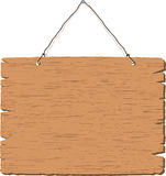träblankt hängande tecken Arkivfoto