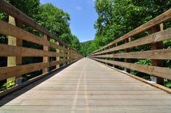 Träbockbro på Virginia Creeper Trail i Förenta staterna som vilt är populär med cyklister Royaltyfri Fotografi