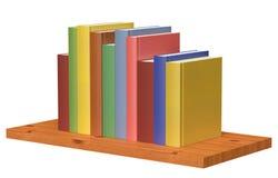 Träbokhylla med kulöra böcker Fotografering för Bildbyråer