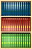 Träbokhylla med raddafärgböcker royaltyfri illustrationer