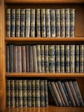 Träbokhyllan med antikviteten bokar ordnat royaltyfria foton