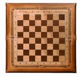 Träbräde för en lek av schack Arkivbilder
