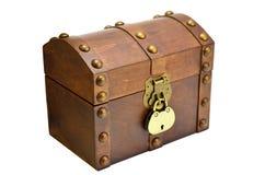 Träbröstkorgen med låser Arkivfoton