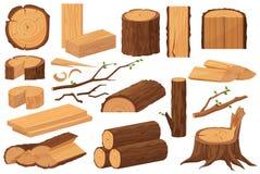Träbranschråvaror Realistisk produktionprövkopiasamling Trädstam, journaler, stammar, träverkplankor, stubbar vektor illustrationer