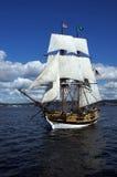 Träbrigen, Lady Washington, seglar Royaltyfri Bild