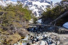 Träbro över den lilla floden i bergen arkivbild