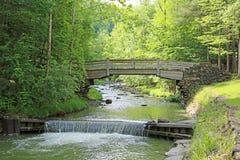 Träbro över den steniga bäcken Arkivfoto