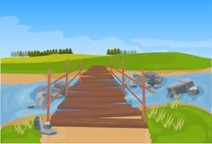 Träbro över lägenhet för bakgrund för flodberglandskap vektor illustrationer