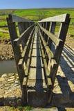 Träbro över ström i bygd Royaltyfria Foton