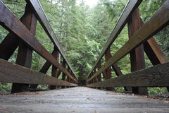 Träbro för fotvandrare Arkivbild