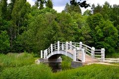 Träbro i den Alatskivi slotten som fotvandrar rutten Fotografering för Bildbyråer