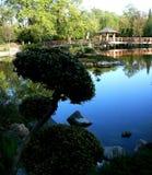 Träbro i en japansk trädgård i Wroclaw royaltyfri foto