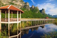 Träbro i laken på nationalparken, Thailand Arkivbilder