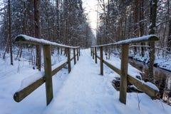 Träbro i snönärbild Arkivbilder