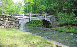 Träbro i stenig bäckSP Fotografering för Bildbyråer
