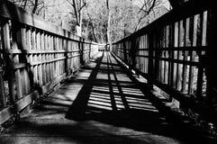 Träbro i svartvitt Arkivfoton
