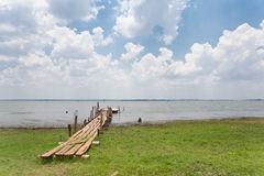 Träbro och etapp för fiskare Arkivfoto
