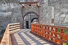 Träbro och slott Arkivbild