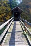 Träbro ovanför den Weisse Elster floden nära Plauen i Sachsen Arkivbilder