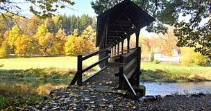 Träbro ovanför Weisse Elster med ängen och den färgrika höstskogen Royaltyfri Fotografi
