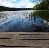 Träbro på sjön royaltyfria foton