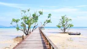Träbro till havet i ön Koh-Mak Fotografering för Bildbyråer