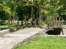 Träbron över sjön Arkivfoton