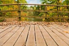 Träbron i hösten parkerar Arkivfoton