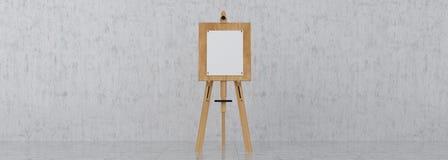 Träbruna Sienna Easel med åtlöje upp tom tom kanfas Isolat arkivbild