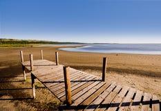 Träbrygga bredvid en sjö Arkivbild