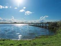 Träbrygga i sjön Royaltyfria Bilder
